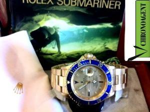 Rolex Submariner R ORIGINALE IN ORO GIALLO 18 Kt GHIERA BLU E QUADRANTE CON BRILLANTI E ZAFFIRI ALLE ORE