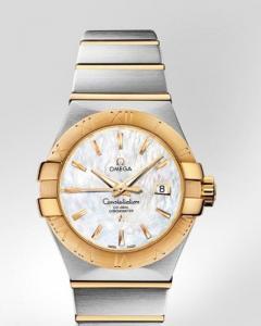 Omega Constellation Brushed Chronometer r ref.123.20.31.25.05.002 con cassa in acciaio e oro giallo 18ct