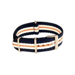 Eulit Textilarmband Nato-Style - Uhrenarmband blau-weiß-orange