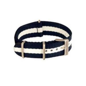 Eulit Textilarmband Nato-Style - Uhrenarmband dunkelblau-weiß
