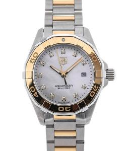TAG Heuer Aquaracer Lady Quartz 27 Yellow Gold Plated Details Mother of Pearl Dial