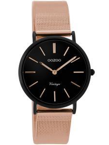 Oozoo C8878 Damenuhr Vintage Rosé/Schwarz 32 mm