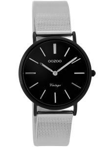 Oozoo C8879 Damenuhr Vintage Silber/Schwarz 32 mm