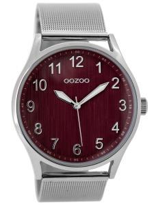 Oozoo C9517 Damenuhr mit Milanaiseband Silberfarben/Burgund 42 mm