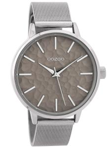 Oozoo C9571 Damenarmbanduhr mit Milanaiseband Silberfarben/Grau 42 mm