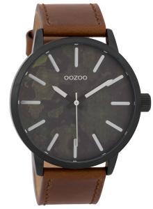 Oozoo C9601 Herrenuhr 45 mm Paint-Look-Zifferblatt Schwarz/Braun