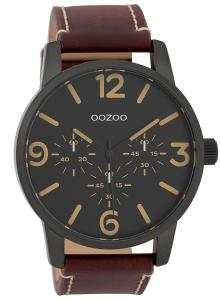 Oozoo C9653 Herrenuhr mit Lederband Schwarz/Rotbraun 45 mm