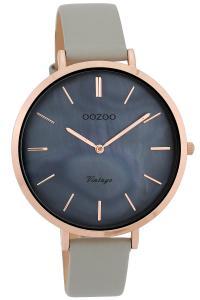 Oozoo C9805 Damenuhr Vintage Perlmuttfarben/Grau 40 mm mit Lederband