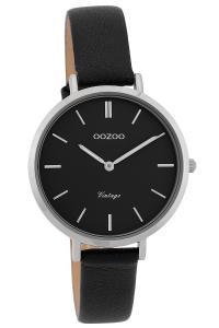 Oozoo C9818 Damenuhr Vintage Schwarz 34 mm mit Lederband