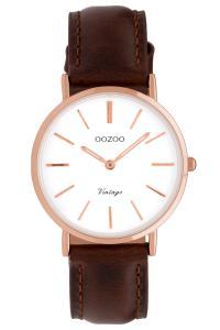 Oozoo C9837 Damenuhr Vintage Weiß/Dunkelbraun 32 mm