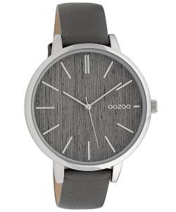 Oozoo C9745 Damenuhr mit Lederband Grau/Holz 42 mm