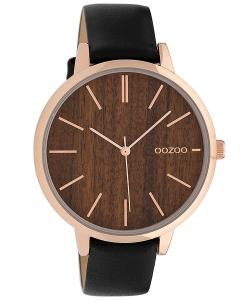 Oozoo C9749 Damenuhr mit Lederband Schwarz/Holz 42 mm